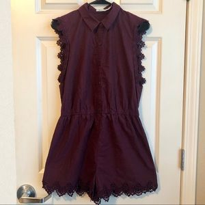 Urban Outfitters Pants - Urban Outfitters Kimchi Blue Maroon Lace Romper